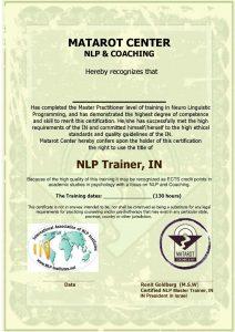 תעודה ההסמכה NLP Trainer